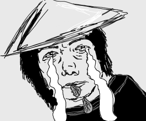 man w/ asian conical hat cries & spits salad