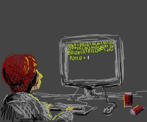 Hacker hard at work
