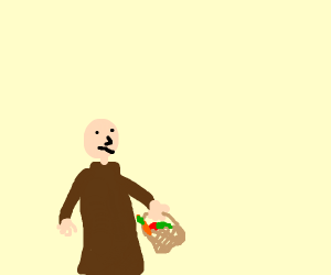 Bald priest with a picnic basket