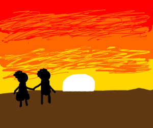 two people watching the sunset