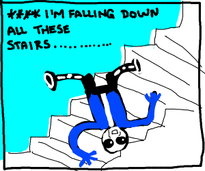 Sans falls down the stairs.