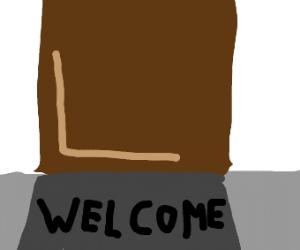 Welcome mat at door
