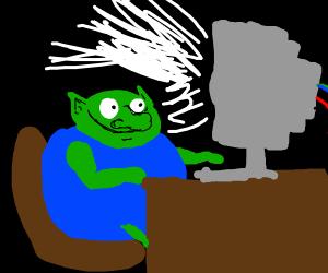 goblin on a computer