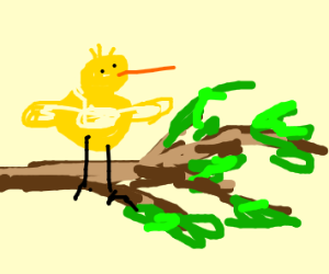 Yellow bird sits on a branch