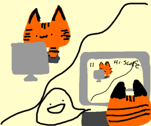 A tiger playing a comptuer game of itself