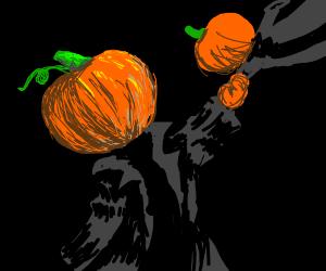 pumpkin head man swings pumpkin baby