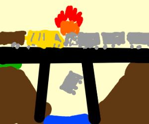 Trains crashing on a bridge