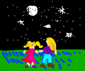 Daughter and Mother stargazing