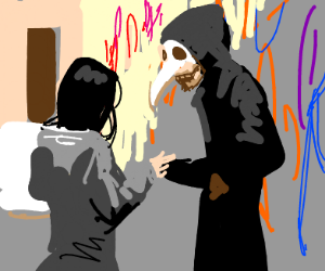 The beaked grim reaper sells drugs to a girl