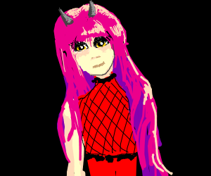 demon girl with pink hair