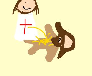God pissing on jesus