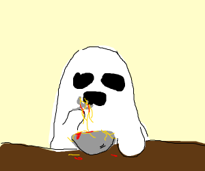 Ghost eating it's spaget c: