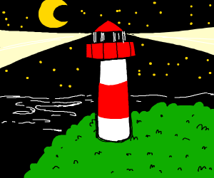 A lighthouse on a hill at night