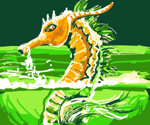 Sea dragon emerges from the water