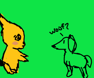 Pikachu and a pointy dog