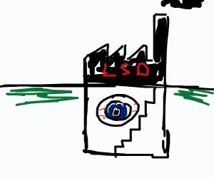 Giant eye in the basement of the LSD factory