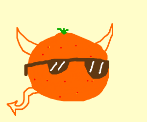 orange devil with glasses