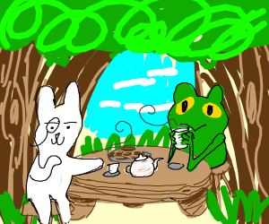 Frog and a bunny at a tea party