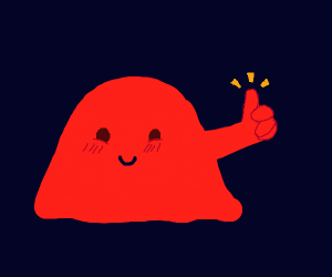 Orange blob gives thumbs up