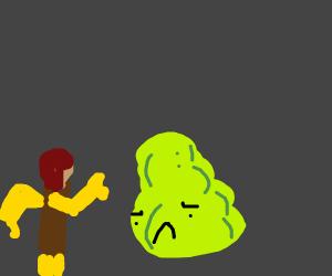 lego man greets a sad blob