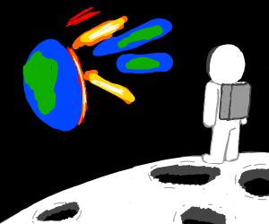 astronaut stuck on the moon