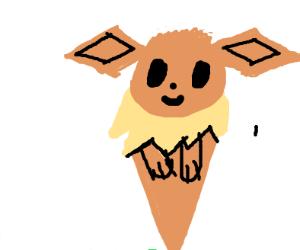 Eevee in an ice cream cone.