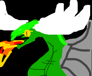 dragon with Moose antlers spitting fire