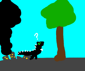 godzilla is stumped by big tree