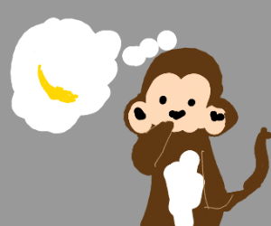 Monkey thinks about bananas