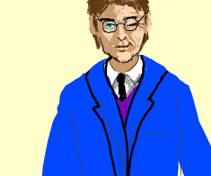 Harry Potter in a blue suit flirts with you