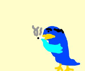 Old penguin smoking
