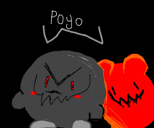 a red & a grey monster says poyo