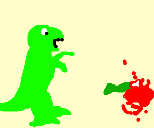 A dinosaur reacting to his mom's cut off hand