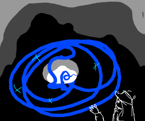 cave with blue aura coming from the end