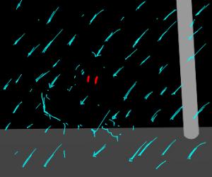Invisible knight in the rain