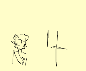 Avatar has a steak on his head, looks at 4