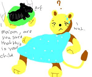 Lion gave birth to a scottish terrier