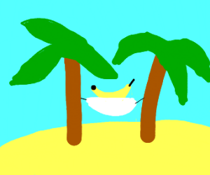 banana in a hammock between to trees uwu