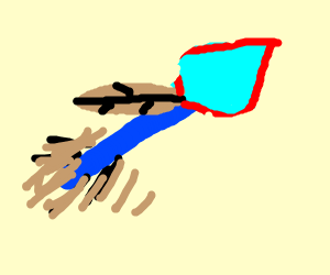 A futuristic arrow with feather near the head