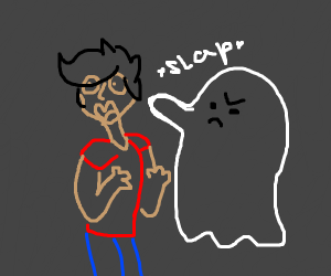 A ghost hits a person