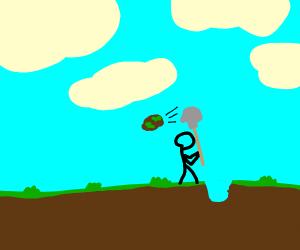 Pilot digging into a Lawn