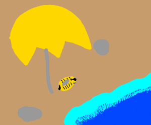 bee under yellow umbrella at beach