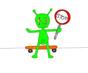 Many eyed alien protects skateboard
