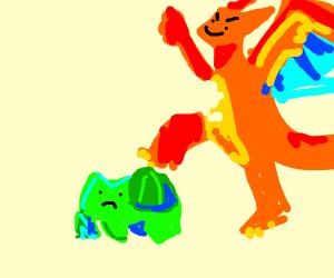 Charizard stepping on Bulbasaur