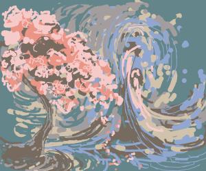 Cherry Tree in front of Water Volcano