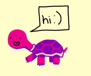 cute turtle ditto saying hi