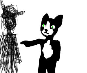 cat standing on two legs points to a scribble