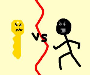 intense battle of key vs. man