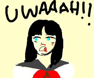 Anime girl yellin' w/ a bloody nose and mouth
