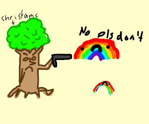 Christams Tree Man Purges Rainbows